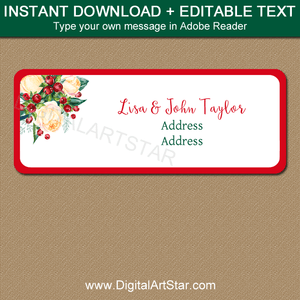 Floral Christmas Address Label Template