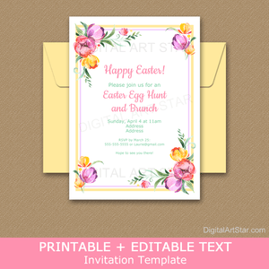 Floral Easter Invitation Template Download for Easter Egg Hunt and Easter Brunch