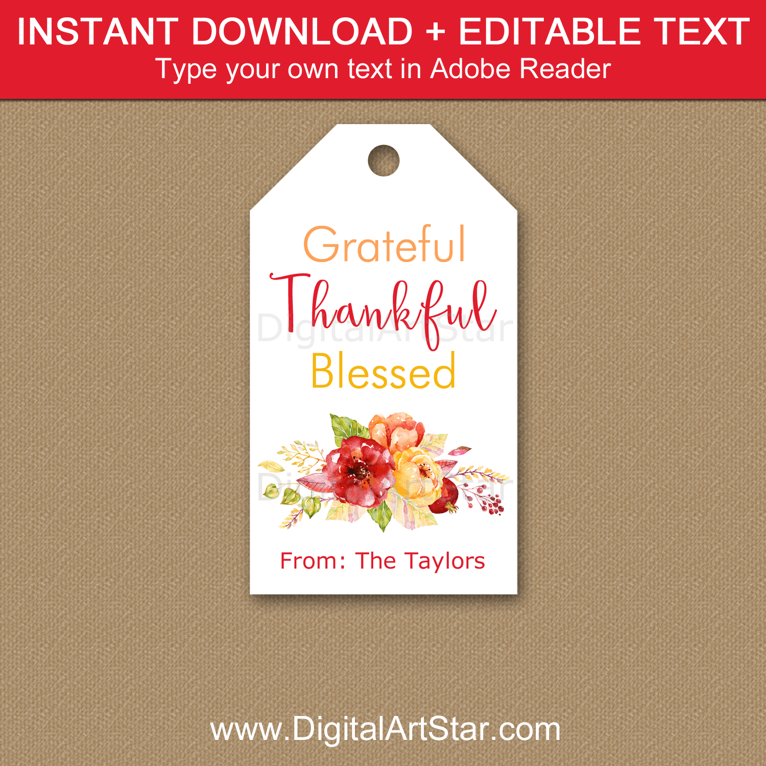 Floral Grateful Thankful Blessed Printable Tags