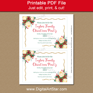 Printable Floral Christmas Invitation Template