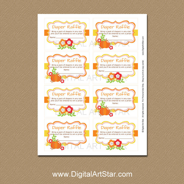 photograph relating to Diaper Raffle Tickets Printable named Drop Diaper Raffle Tickets with Pumpkin and Bouquets