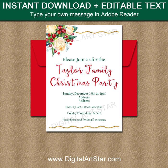 Floral Invitation Template For Christmas Party