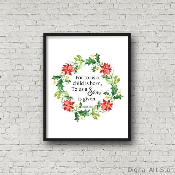 For To Us a Child Is Born Scripture Art Print