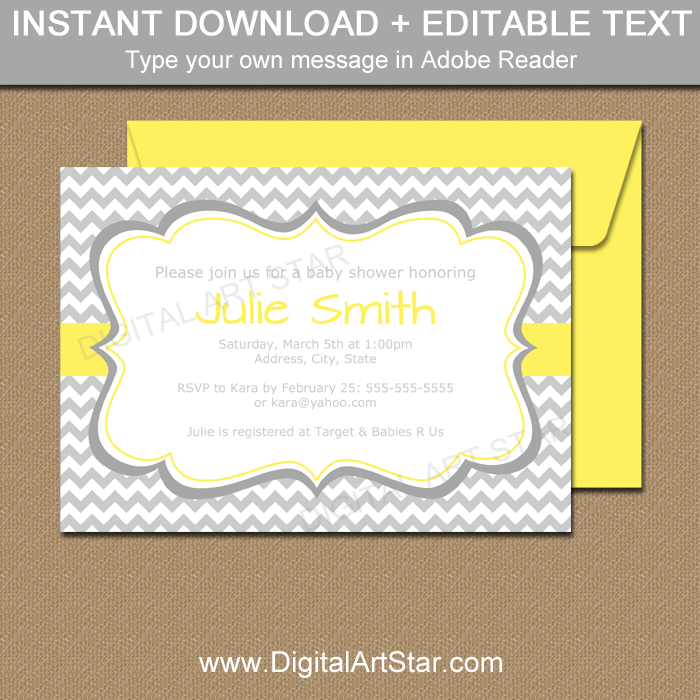 Gender Neutral Baby Shower Invitation: Gray and Yellow | Digital ...