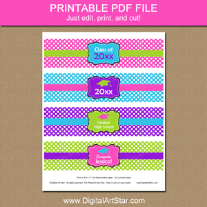 Girl Graduation Printable Water Bottle Labels Pink Purple Lime Green Blue