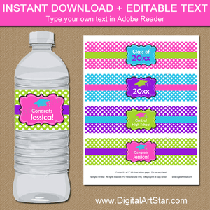 Girl Graduation Water Bottle Labels Pink Purple Lime Green Blue
