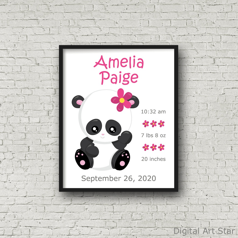 Girl Panda Birth Announcement Printable Wall Art