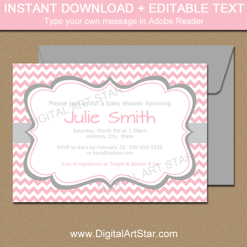 Baby Shower Invitation Template For Girl Baby   Pink Chevron And Gray  Accents