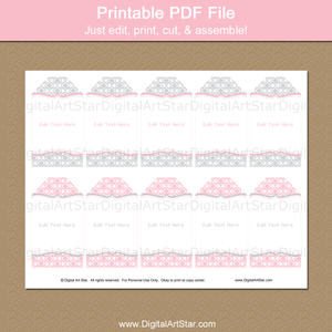 Printable Tags for Girl Baby Shower, Wedding, Birthday
