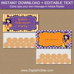 instant download halloween witch bag toppers for kids with editable text