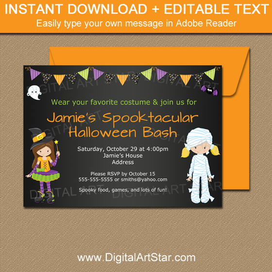 Printable Girl Halloween Invitation
