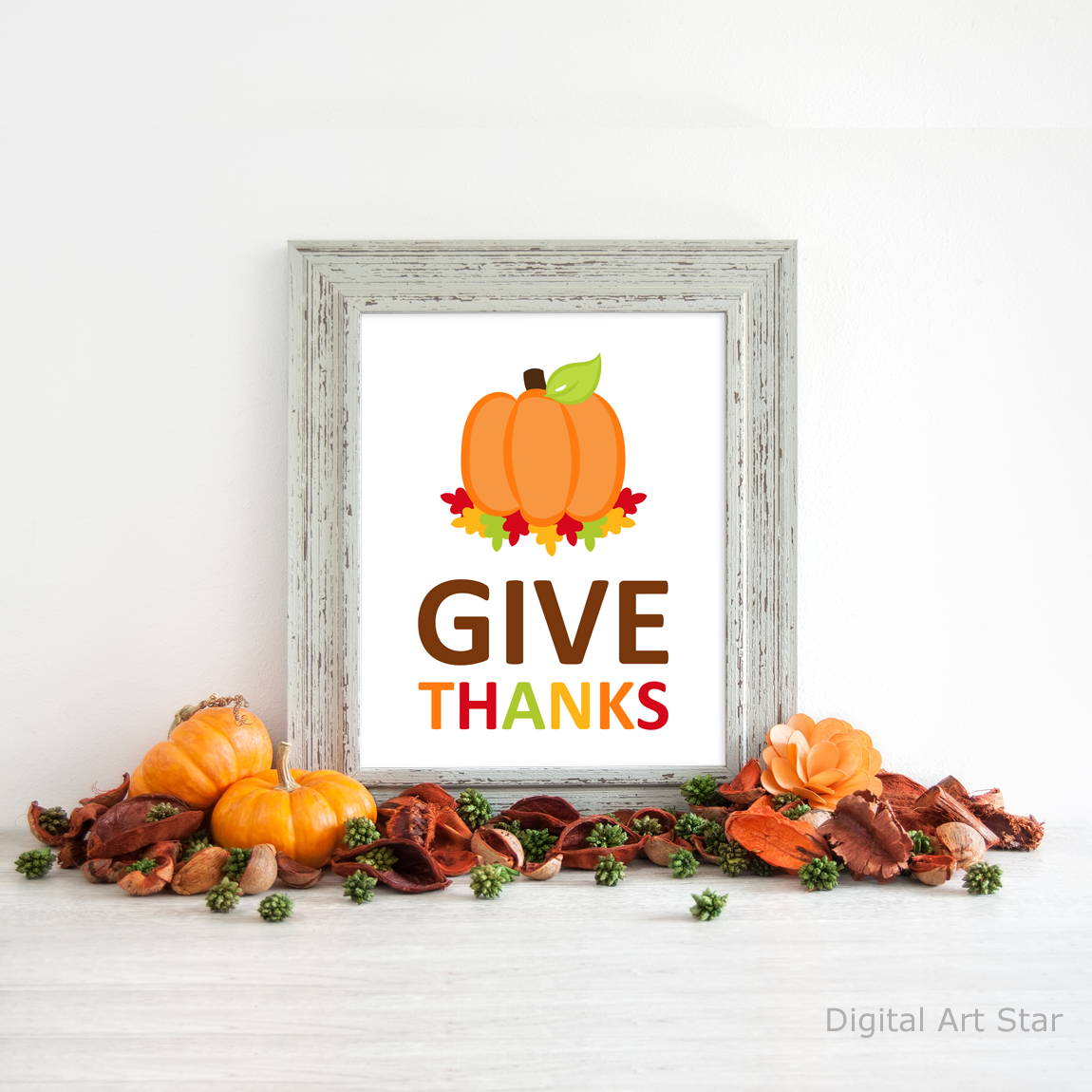 Give Thanks Pumpkin Art Print