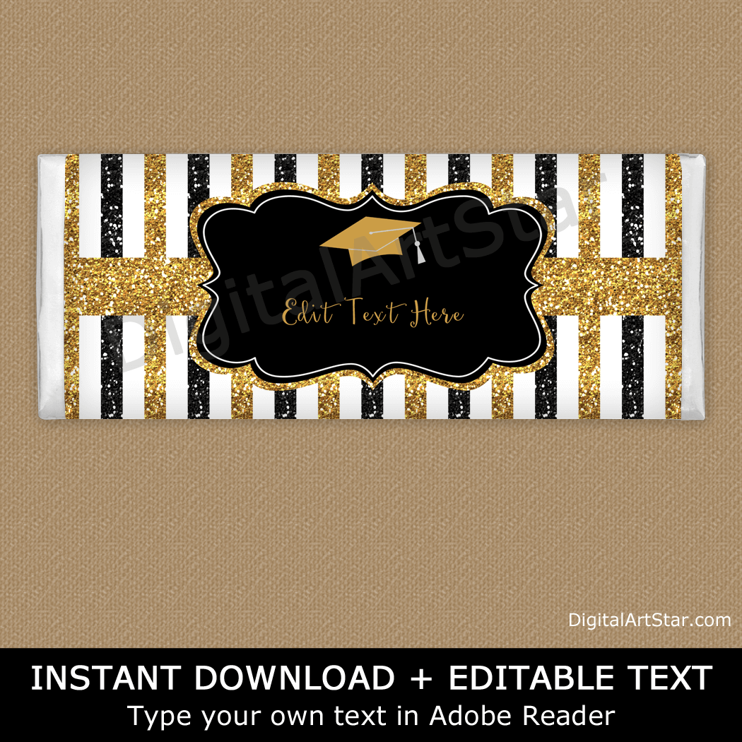 Glitter Graduation Candy Bar Wrappers Black and Gold