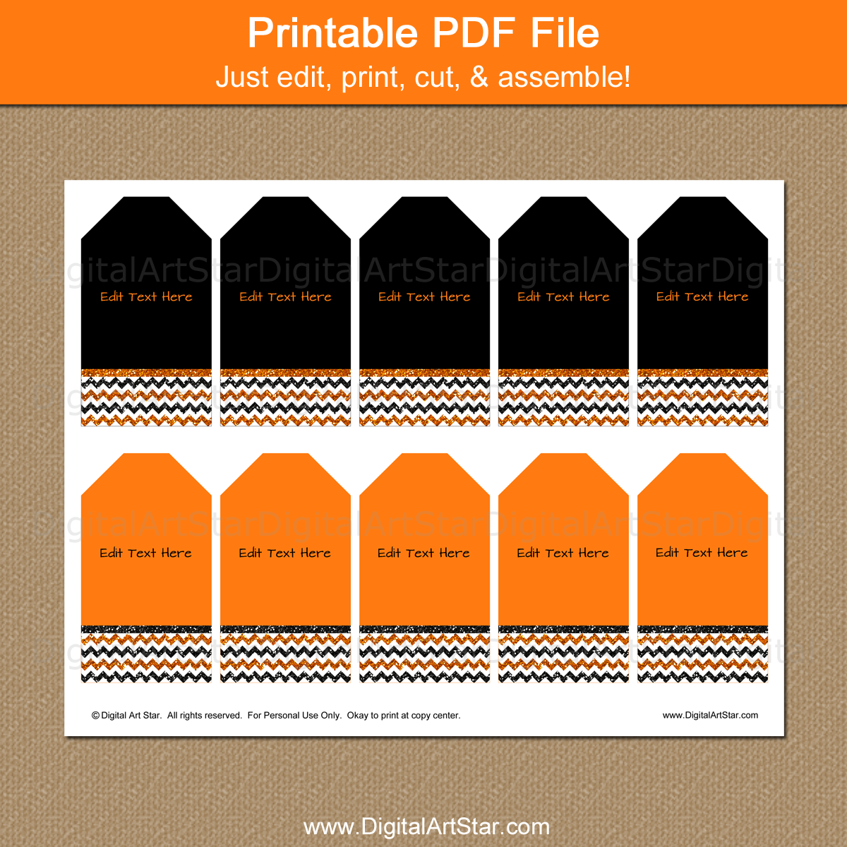 photograph regarding Printable Halloween Tags titled Halloween Present Tags - Orange and Black Glitter Chevron
