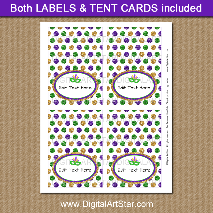 Mardi Gras Tent Cards with Editable Text