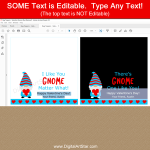 Gnome Valentine Bag Toppers Editable Template