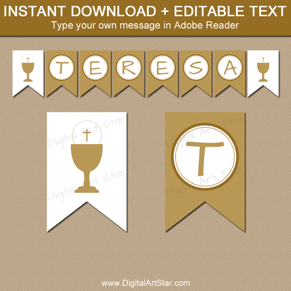 Gold First Holy Communion Banner Printable Template Pertaining To First Communion Banner Templates