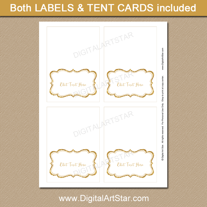 Gold and White Candy Buffet Label Template