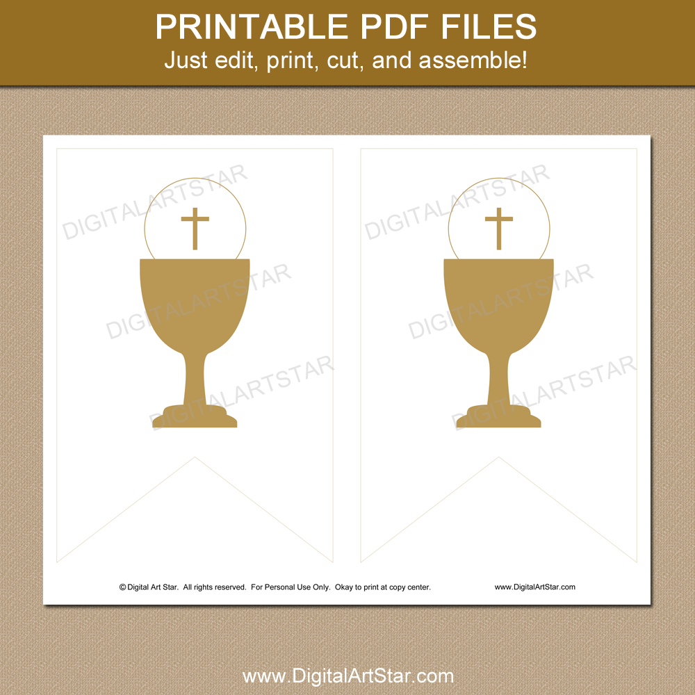 picture about First Communion Banner Printable Templates called Gold Initially Holy Communion Banner Printable Template