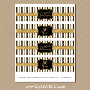 Golden Anniversary Water Bottle Labels Black and Gold