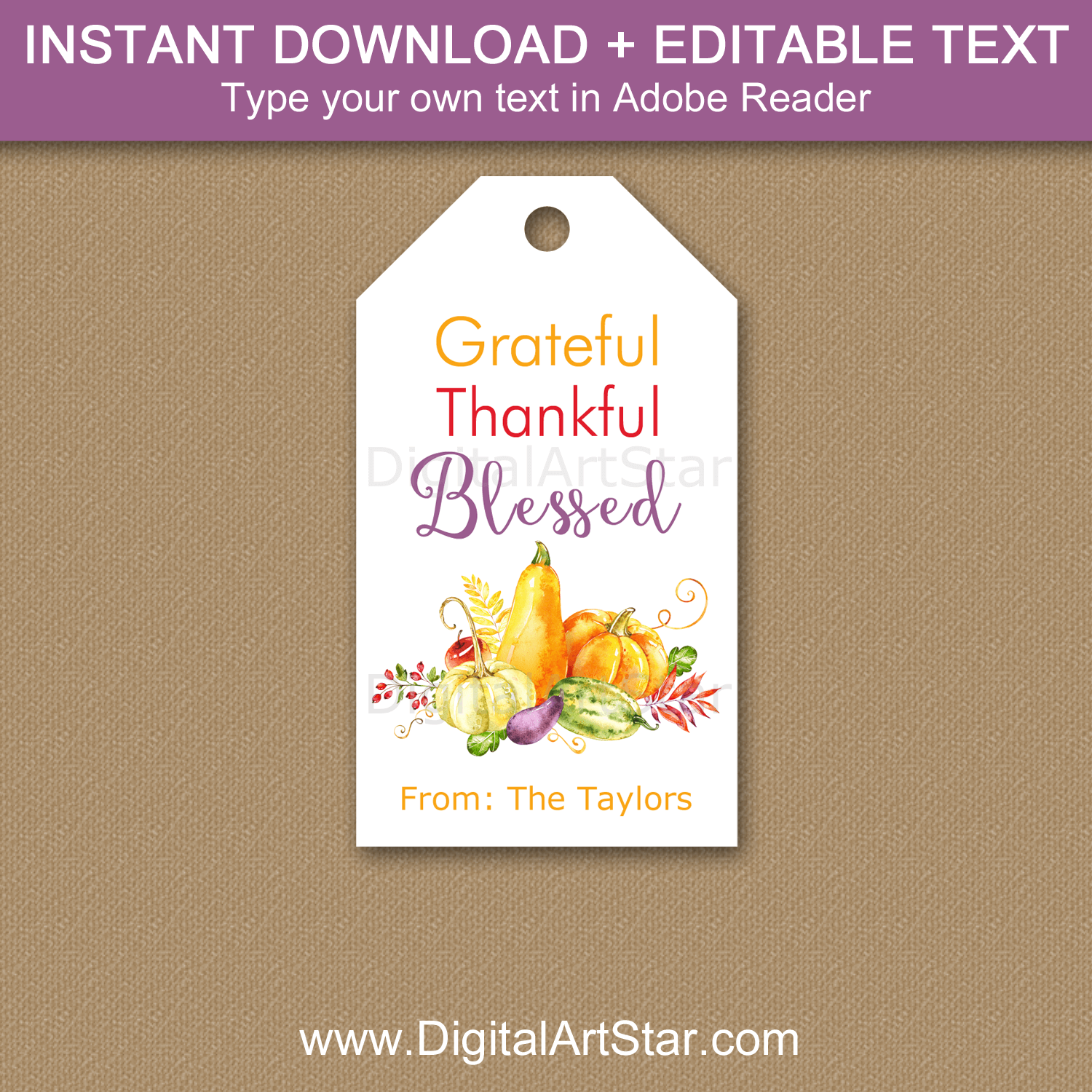 Gourd Gift Tag Printable - Grateful Thankful Blessed