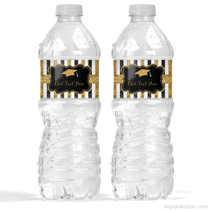 Graduation Decorations Black and Gold Glitter Water Bottle Labels