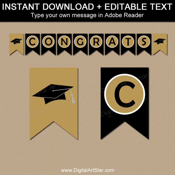 Graduation Banner Editable Template