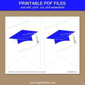 Royal Blue and White Graduation Party Banner