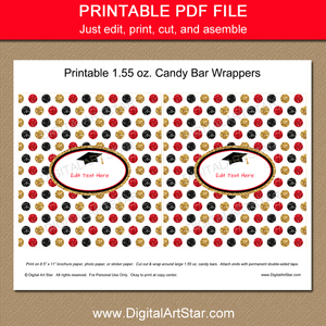 Printable Black Gold Red Glitter Party Favors
