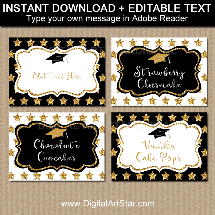 Editable Graduation Candy Buffet Labels and Tent Cards