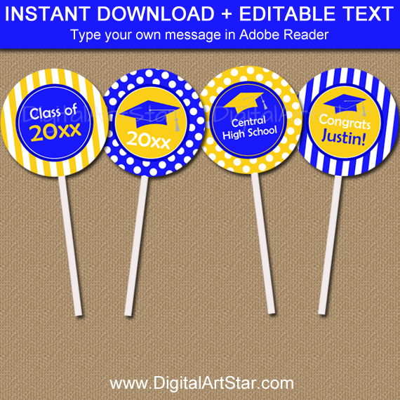 Graduation Cupcake Toppers Blue and Yellow