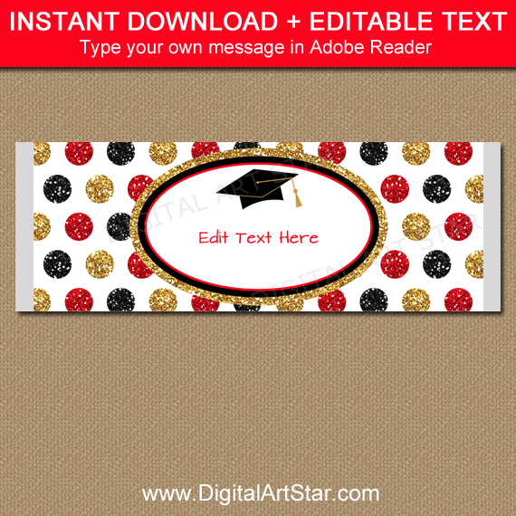 Graduation Candy Bar Wrappers - Black Gold Red Glitter Party Favors