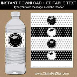 Instant Download Black and Silver Graduation Water Bottle Label Template
