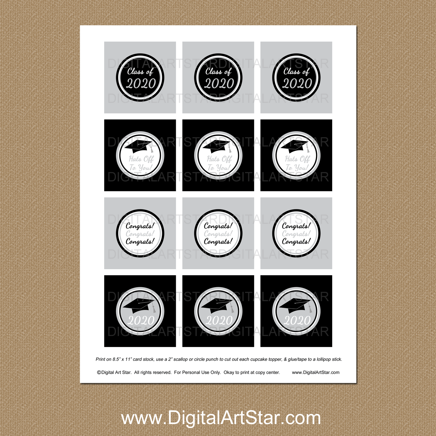 photo about Printable Cupcake Toppers called Black and Silver Commencement Printable Cupcake Toppers Fast Down load