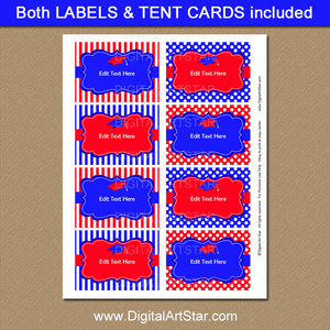 Royal Blue and Red Graduation Printable Labels for Graduation Party