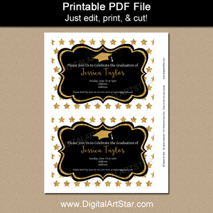 Black and Gold Graduation Star Theme Invitation Printable