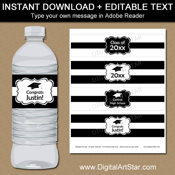 Graduation Water Bottle Stickers - Black and White