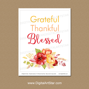 Grateful Thankful Blessed Wall Art Print with Flowers