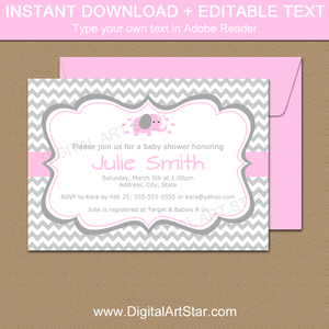 Gray Chevron Baby Shower Invitations with Pink Elephant