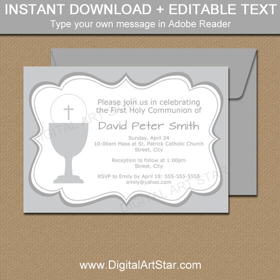 Editable Invitations for First Communion Party