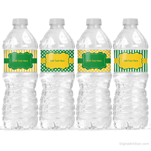 Green and Yellow Birthday Water Bottle Labels to Make Birthday Party Decorations