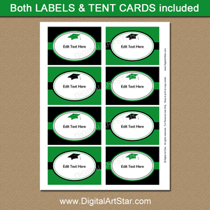 Green and Black Graduation Printable Labels