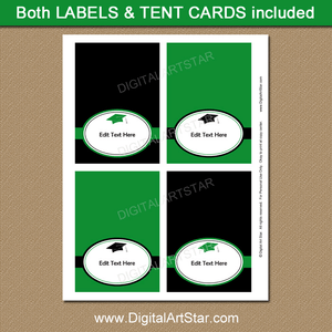 Green and Black Graduation Tented Name Cards Printable