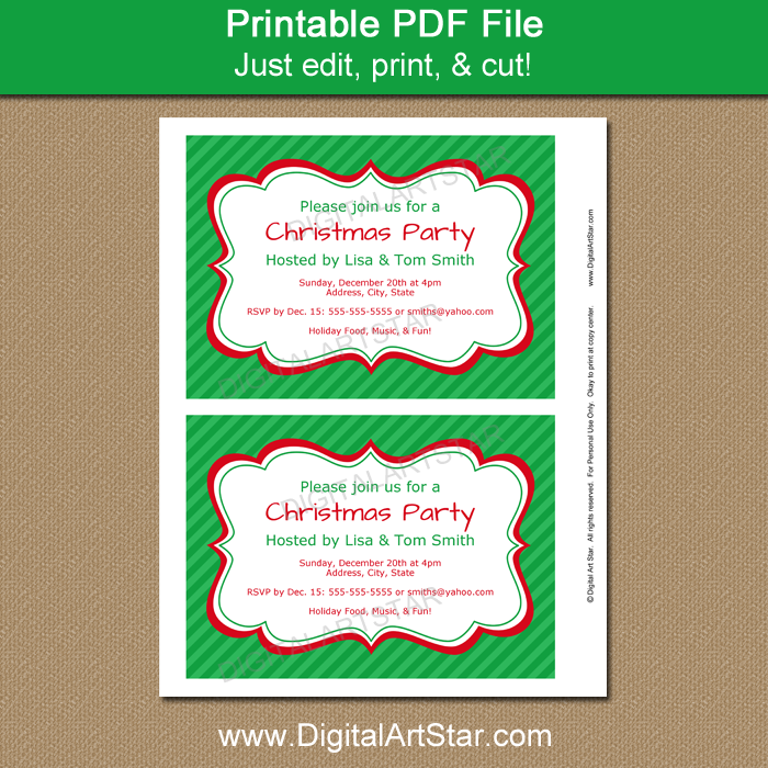 Christmas Invitation Template with Editable Text