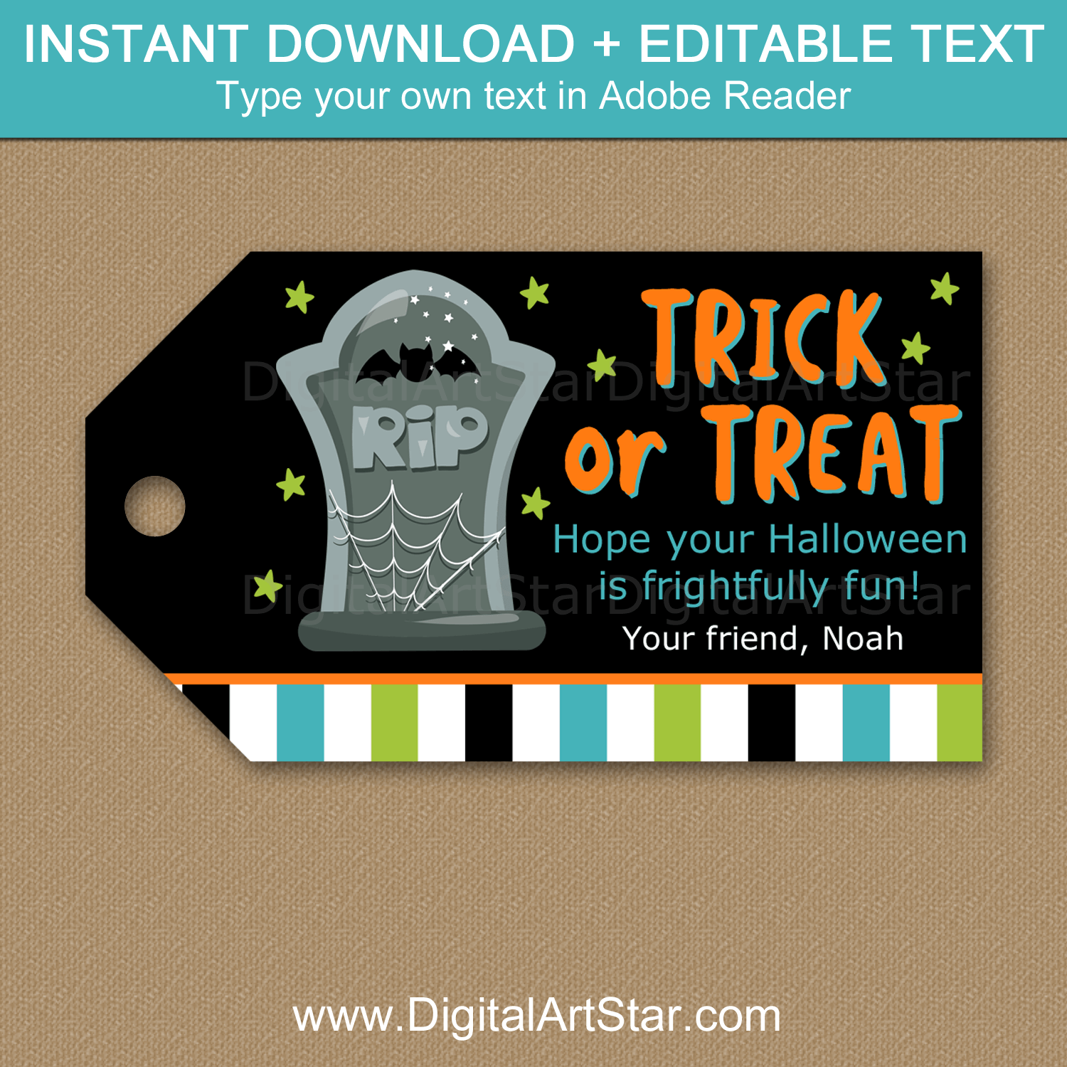 Halloween Printable Tombstone Favor Tag Template