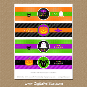 Halloween Themed Happy Birthday Water Bottle Wrappers Printable