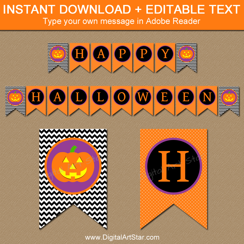 picture regarding Halloween Banner Printable referred to as Lovable Halloween Banner Printable with Jackolantern
