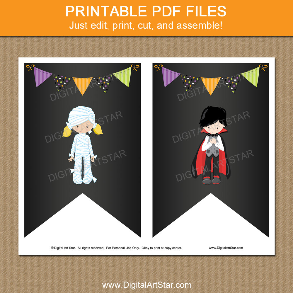Printable Chalkboard Halloween Banner with Mummy and Vampire