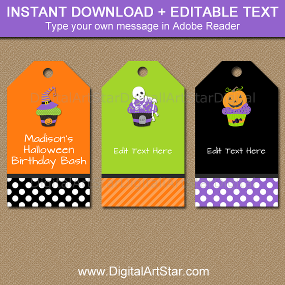 Printable Halloween Tags with Cupcakes