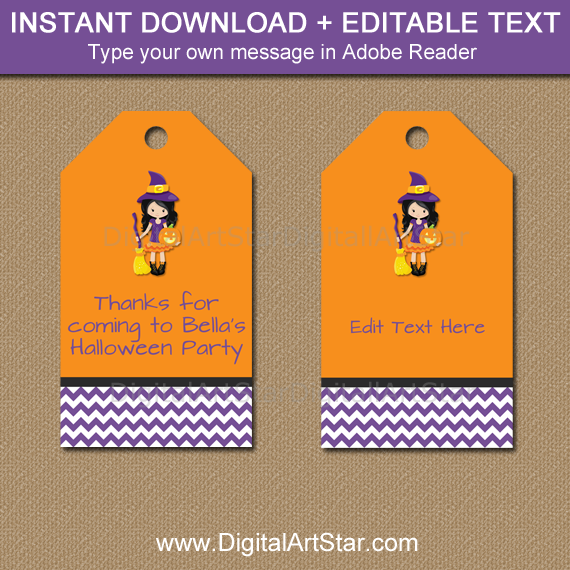 instant download halloween witch tags